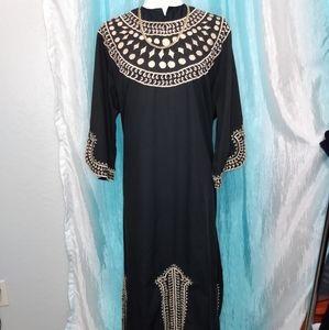 Vintage Macelli black & tan caftan dress